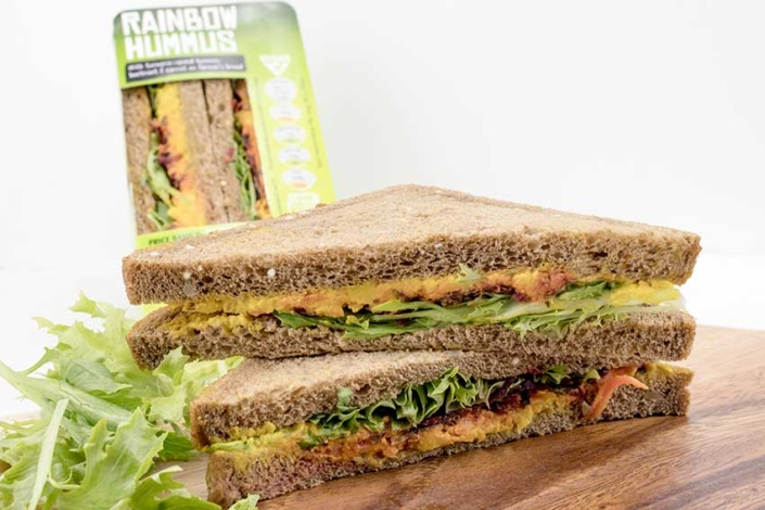 Rainbow hummus vegan sandwiches