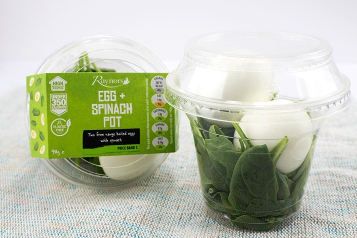 Food to go supplier egg spinach snack pot